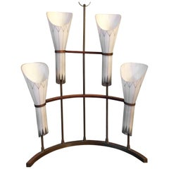 Unusual Hand-Painted Frosted Glass Crescent Shape Table Lamp