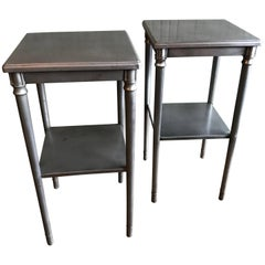 Brushed Steel Nighstands End Tables by Simmons Sheraton Series