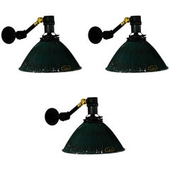 1920 Curtis X-Ray Industrial Sconces with Articulating Mercury Shade