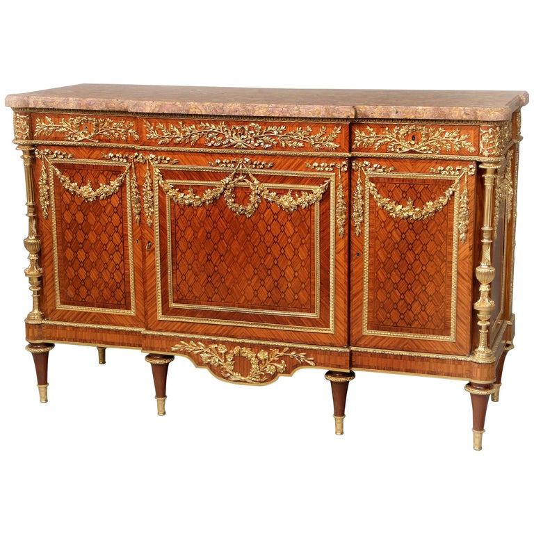 Fantastic Late 19th Century Gilt Bronze and Parquetry Commode by Zwiener Jansen