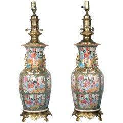 Pair of Late 19th Century French Gilt Bronze-Mounted Chinese Canton Porcelain