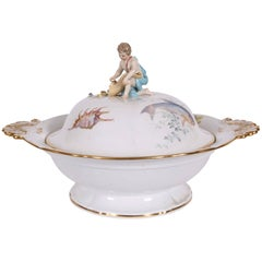 Vintage Meissen Lidded Tureen with Putto Figure