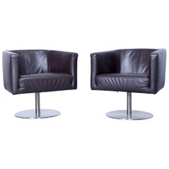 Machalke Crack 95 Armchair Set of Two Brown Mocca Cigar Leather One Seat Modern