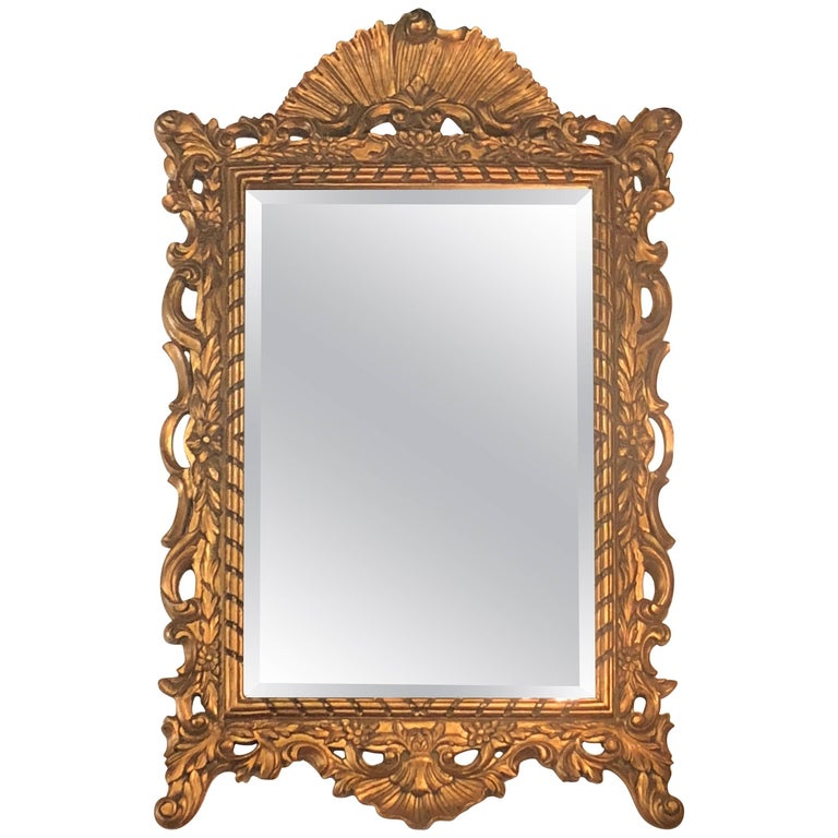 Vintage French Ornate Gold Wall Mirror Hollywood Regency