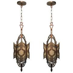 Pair of American Art Deco Lantern Fixtures