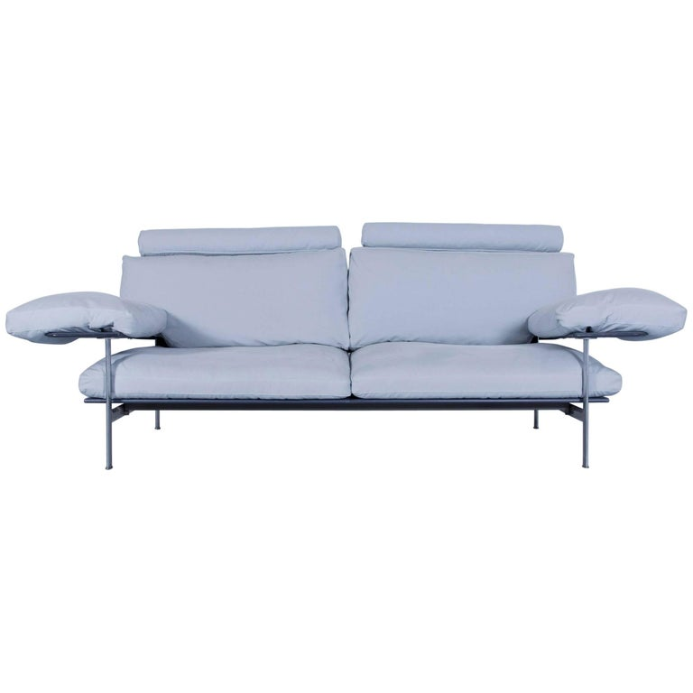 B&B Italia Diesis Designer Sofa Fabric Ice Blue Three-Seat Couch Modern
