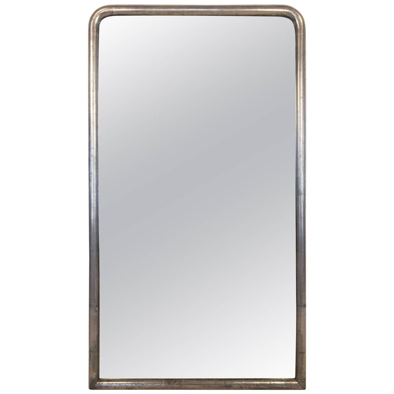 French Silver Gilt Bistro Mirror with Arch Top (H 54 1/2 x W 31) For Sale