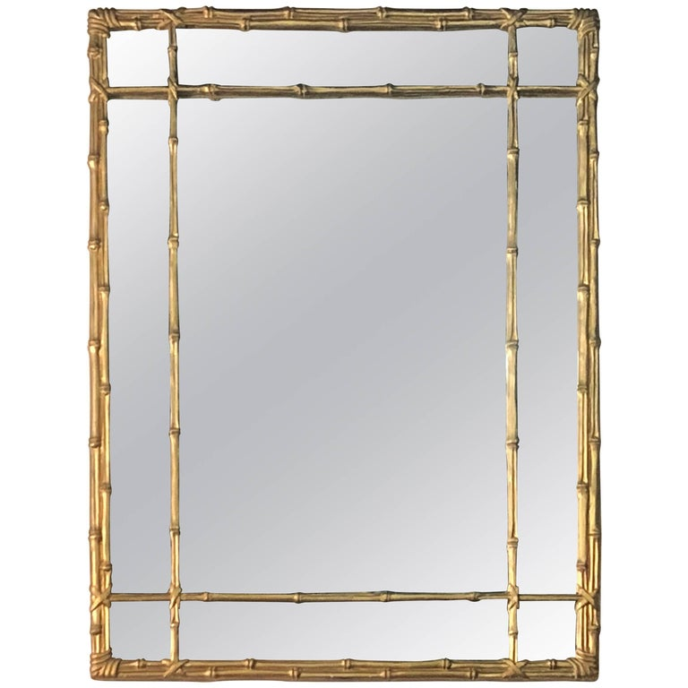 Vintage a Faux Bamboo Gold Wall Mirror Hollywood Regency