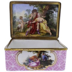 Antique South Staffordshire or Battersea Enamel Table Snuff Box, 18th Century