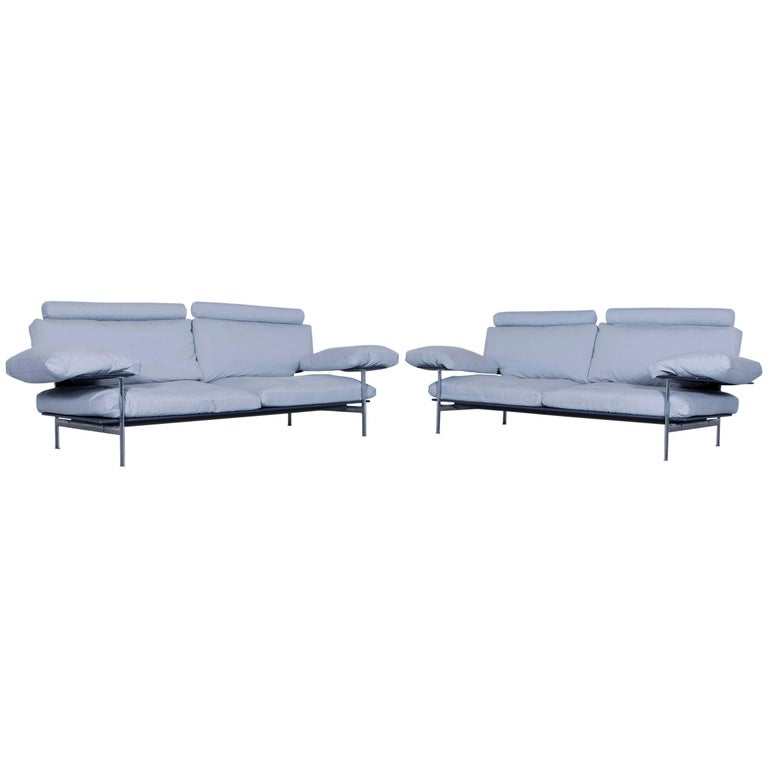 B&B Italia Diesis Designer Sofa Set Fabric Ice Blue Three-Seat Couch Modern
