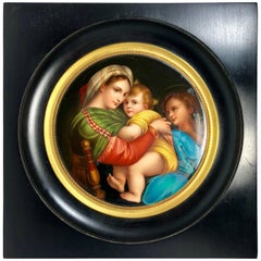 Antique Italian Hand-Painted Porcelain of Madonna and Child, circa 1900