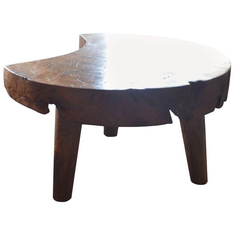 Antique Single Teak Slab Top Coffee Table At 1stdibs: Andrianna Shamaris Moon Shaped Single Slab Teak Wood Side