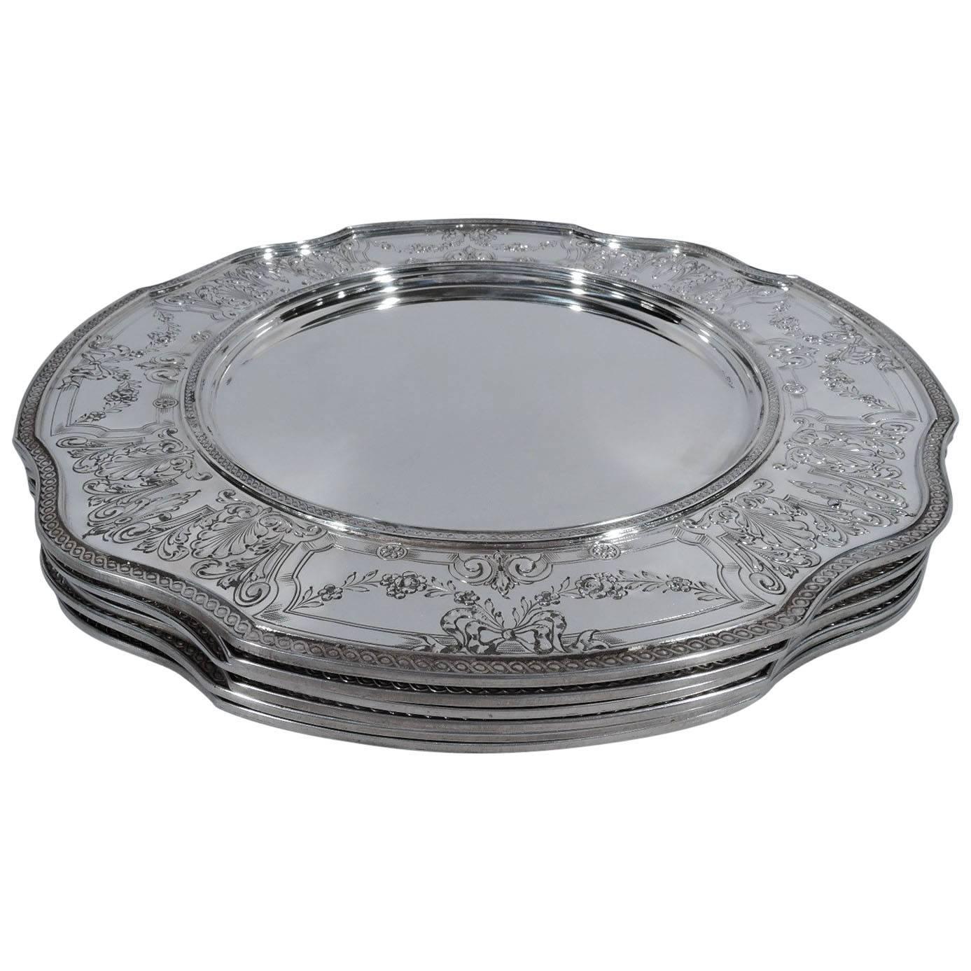 Set of Six Antique American Edwardian Sterling Silver Dinner Plates For Sale  sc 1 st  1stDibs & Set of Six Antique American Edwardian Sterling Silver Dinner Plates ...