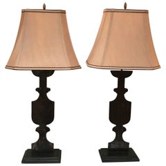 Pair of French Industrial Steel Urn Lamps