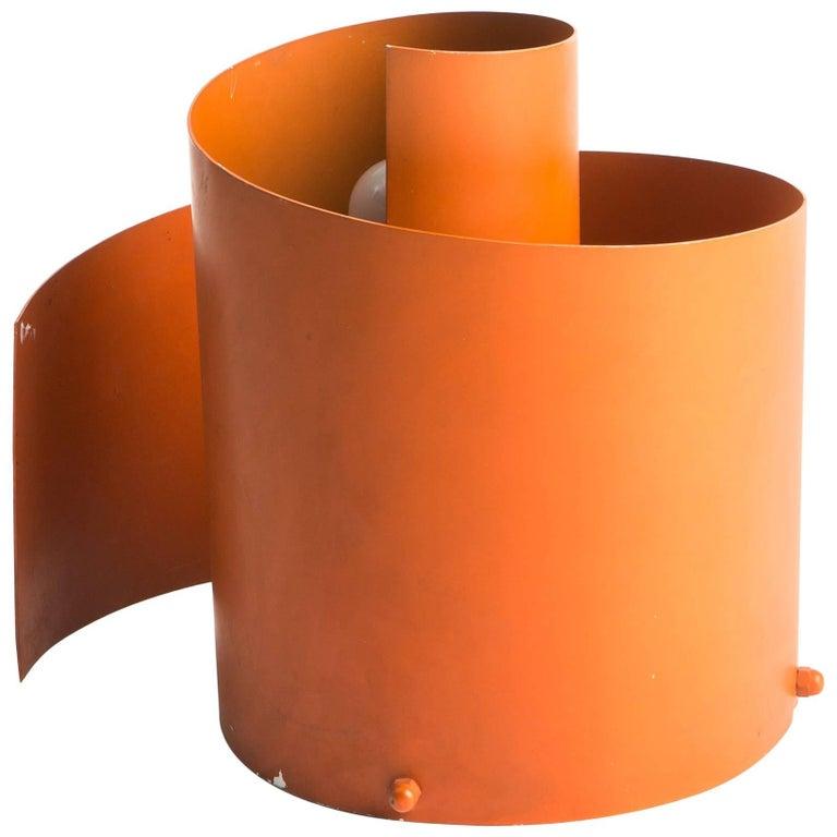 Orange Metal Spiral Table Lamp For Sale