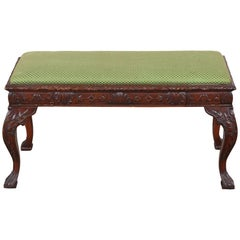 Heavily Carved Mahogany George II Style Bench