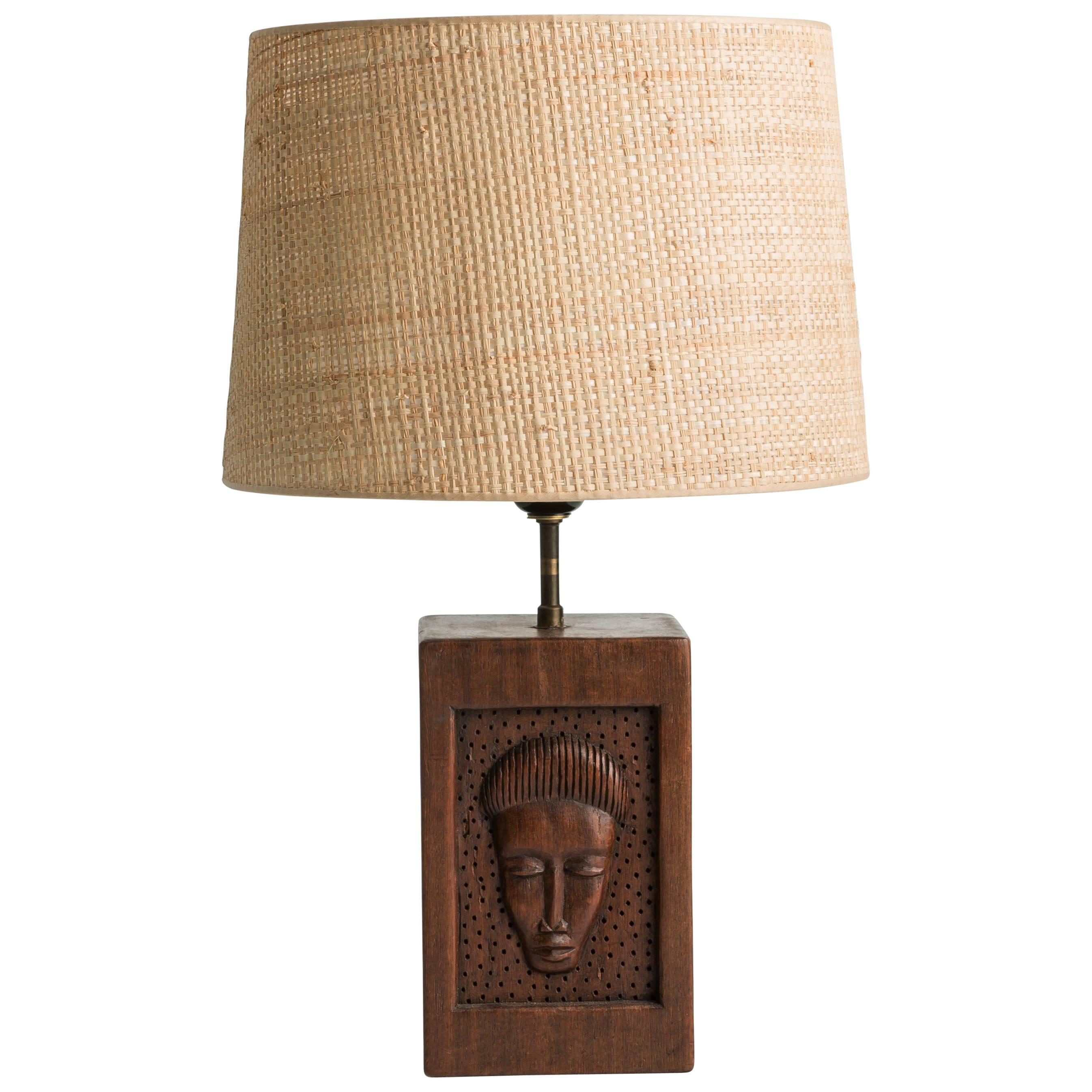 Primitive Hand Carved Table Lamp For Sale
