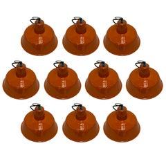 French Vintage Big  Industrial Round Orange  Enameled Pendants