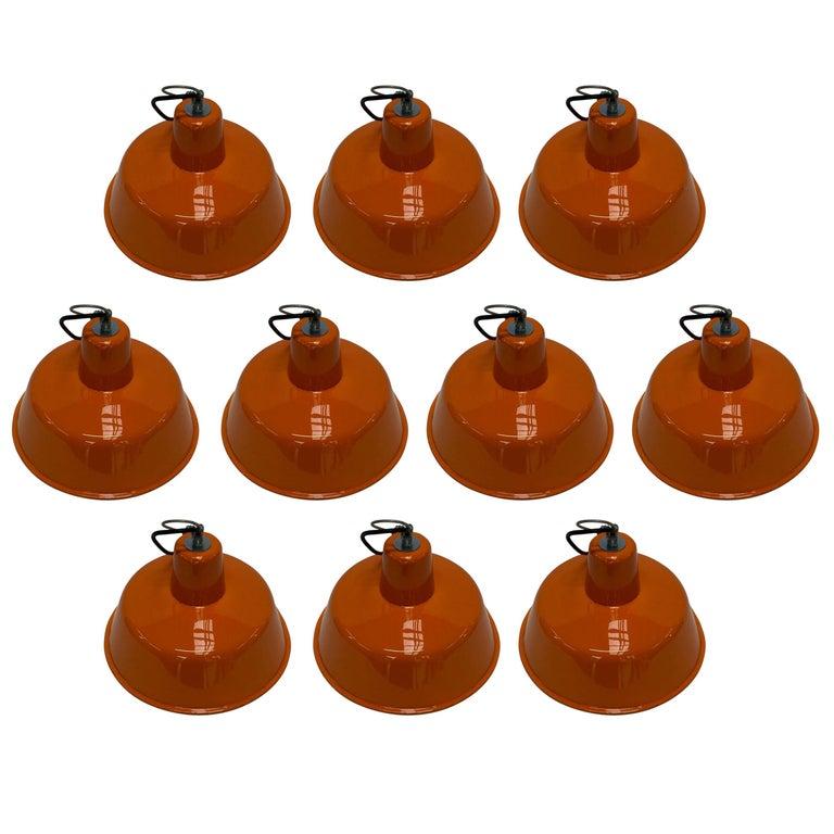 Set of French Vintage Big  Industrial Round Orange  Enameled Pendants
