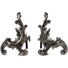 19th Century, French Pair of Rococo-Style Chenets