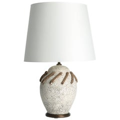 French Ceramic Table Lamp with Rope Motif