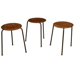 Danish Arne Jacobsen Teak Dot Stools for Fritz Hansen