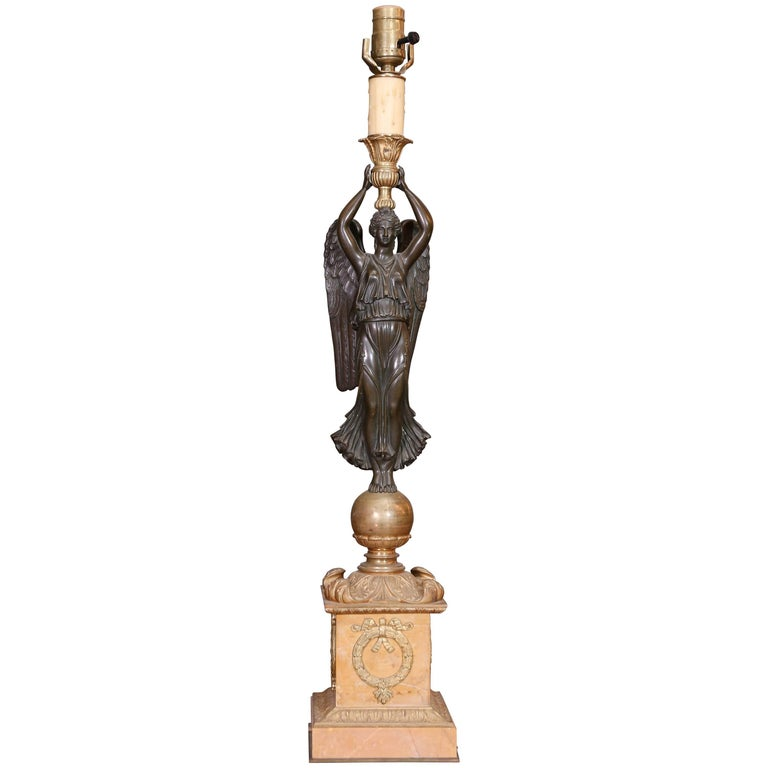 Neoclassical Lamp of Bronze Dore and Marble