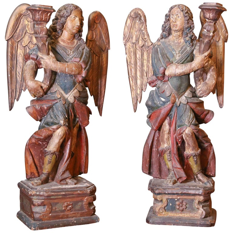 Pair of Italian 17th Century Carved Angels