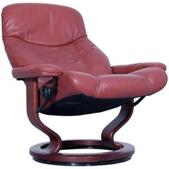 Stressless Consul M Chair Leather Red Brown Relax Function Couch Modern