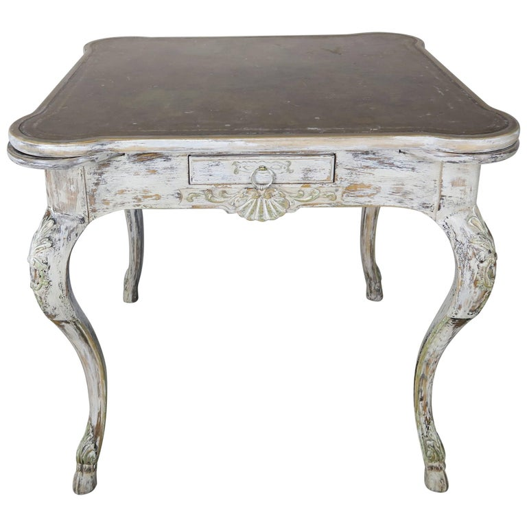 French Painted Leather Top Game Table, circa 1900s