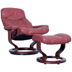 Stressless Consul M Chair Set Incl. Stool Leather Red Brown Relax Function Couch