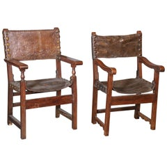 Two 17th Century Spanish Oak and Leather Renaissance Armchairs