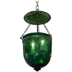 English Emerald Green Glass and Bronze Bell Jar Hall Lantern, Circa 1800