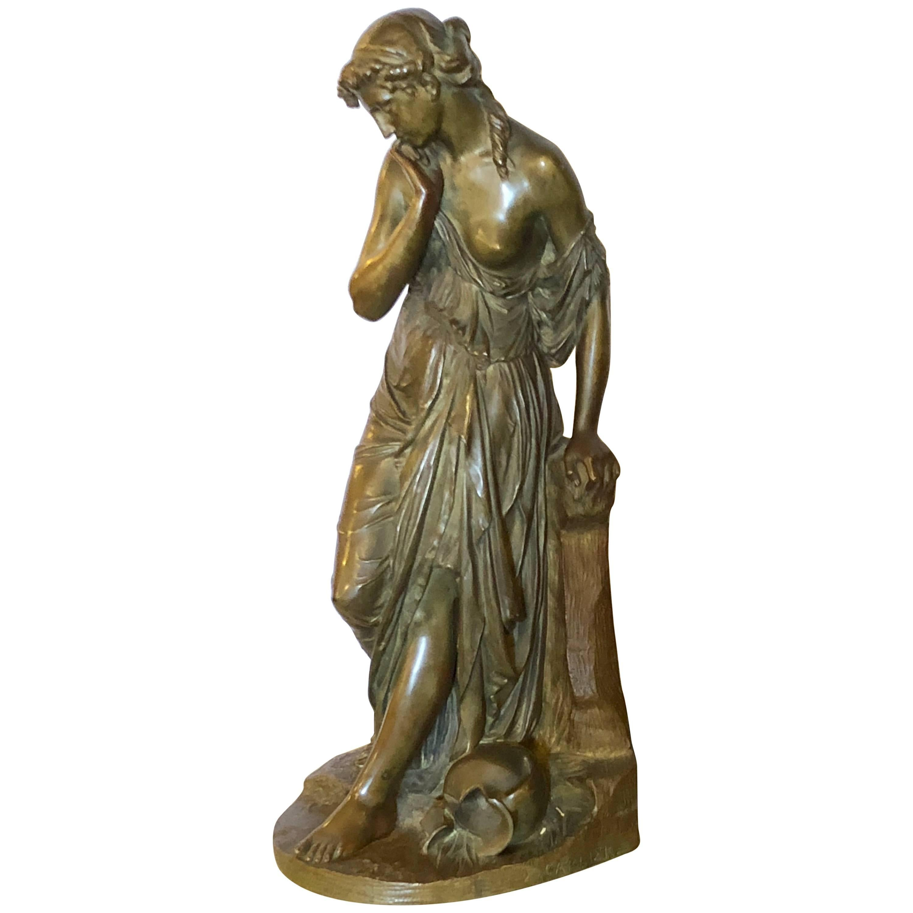 19th Century Bronze Sculpture of a Maiden in Neoclassical Form Signed E. Carlier