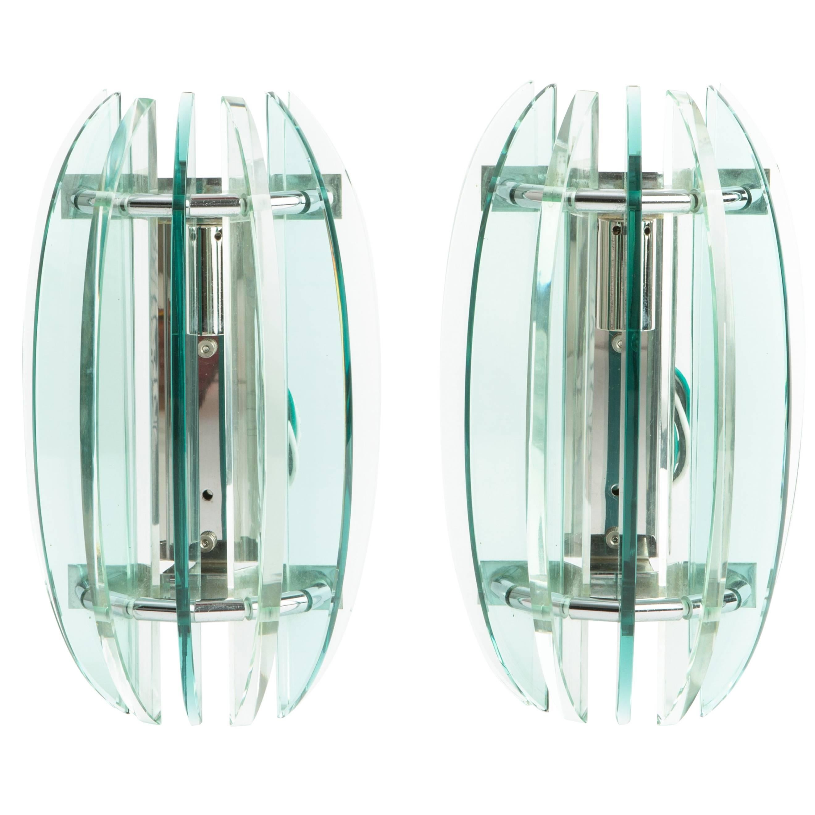 Pair of Chrome and Glass Signed 1970s Veca Wall Sconces