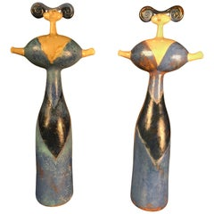 """Mimi"" Master Work Pair of Sculptures Hand-Painted by Eva Fritz-Lindner"