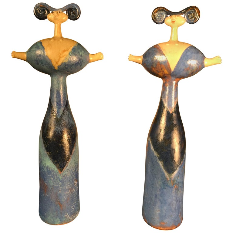 """""""Mimi"""" Master Work Pair of Sculptures Hand-Painted by Eva Fritz-Lindner"""