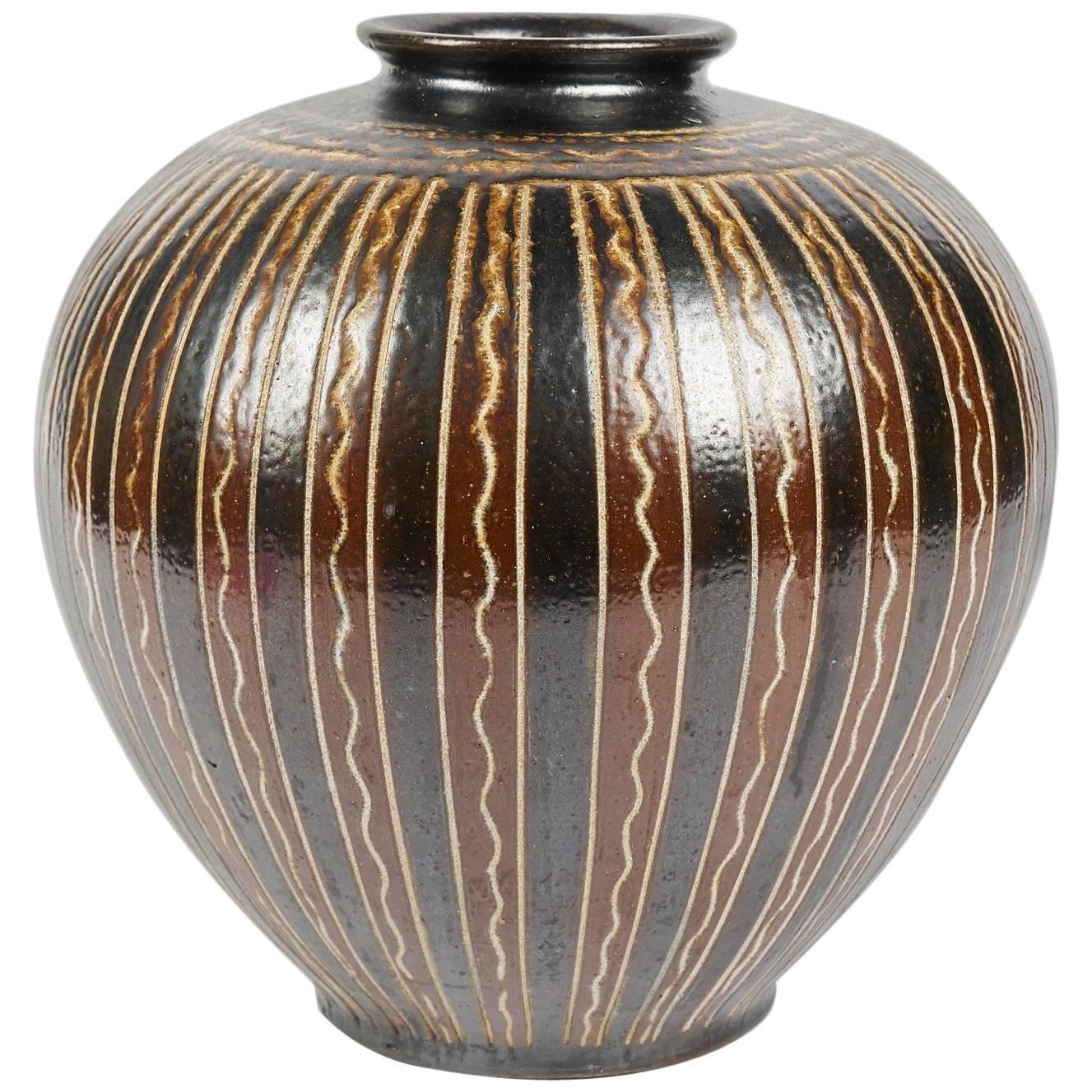 Arthur Andersson, Large Ceramic Vase, Sweden, circa 1950s