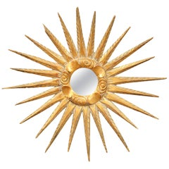 Mid-20th Century, French Carved Giltwood Sunburst Mirror