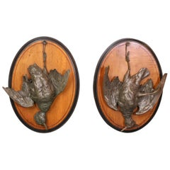 Pair of Black Forest Oval Plaques with Cast Iron Game Birds