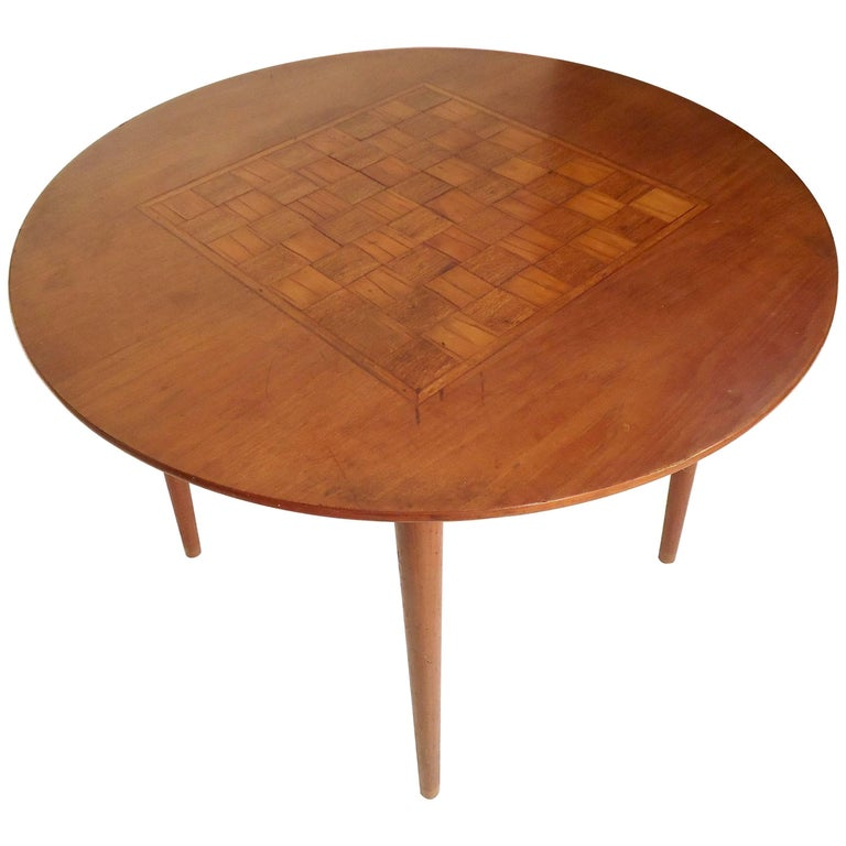 Vintage Round Table with Chess Board Inlay