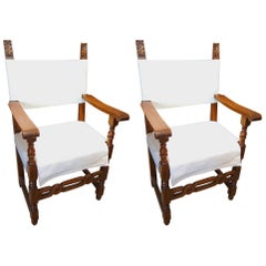 19th Century Antique Italian Tuscan Farmhouse Pair of Armchairs Ca 1860