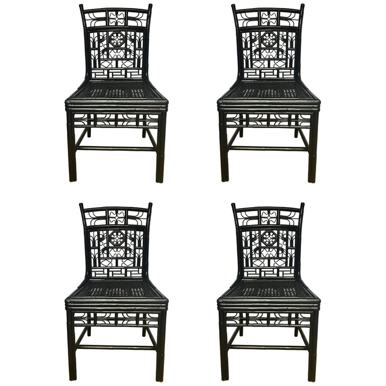 Chinoiserie Chippendale Style Lacquered Bamboo Cane Dining Chairs For