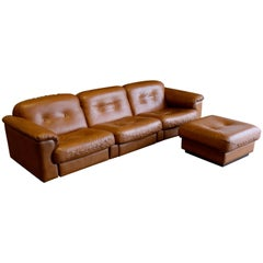 Leather DS 101 Sofa and Ottoman by De Sede