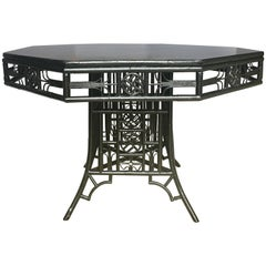 Chinoiserie Chippendale Style Lacquered Bamboo Octagon Dining Table