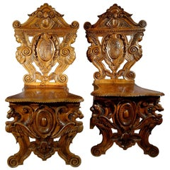 19th Century Antique Italian Hand-Carved Pair Sgabelli Chairs Valentino Besarel