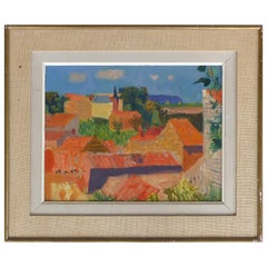 Jean Claude Aujume 1959 Midcentury Oil Painting of a French Landscape