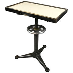 Industrial Bausch & Lomb Milk Glass Optometry Examination Side Table