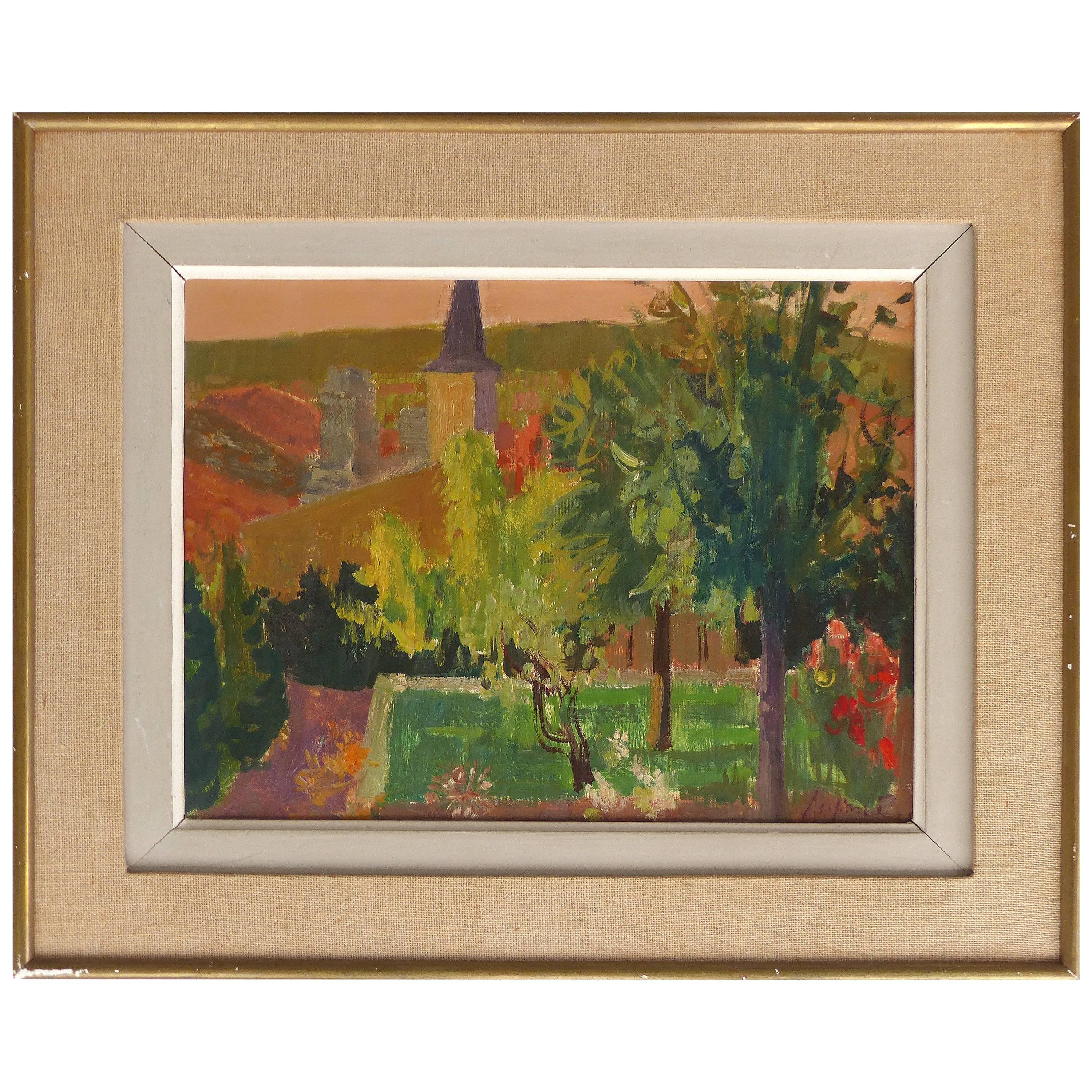 Jean Claude Aujame 1959 French Countryside Landscape Oil Painting