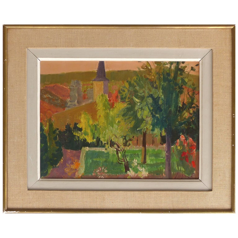1959 French Countryside Landscape Oil Painting by Jean Claude Aujame